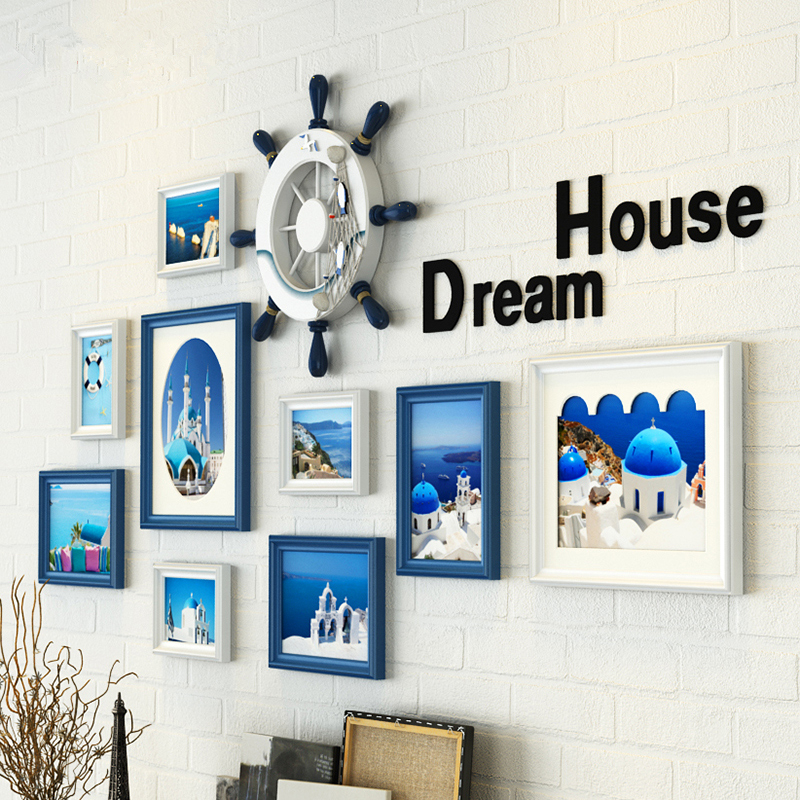 9 pcsset blue white wooden photo framecollage picture frame wallcreative