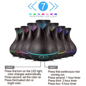 Image 2 - 500ML קולי שלט רחוק אוויר מכשיר אדים ארומה מפזר 7 צבע שינוי LED אור חכם חשמלי חיוני שמן מפזר