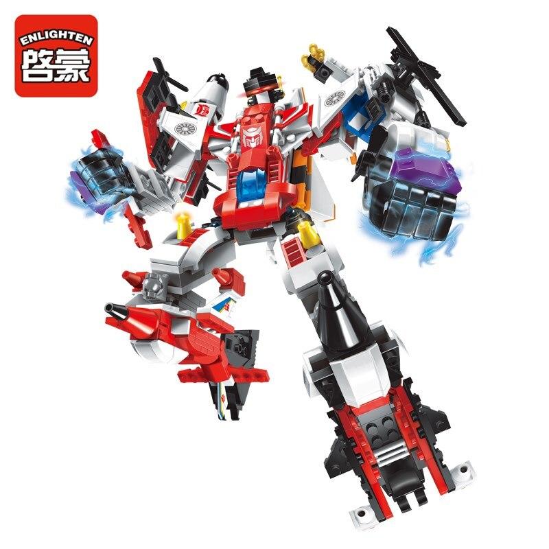 Enlighten Mecha Educational Building Blocks Toys Robot Transform Helicopter Aircraft Plane Destroyer Hero