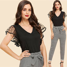 Women Lace Sheer See Through Sleeve Shirt Ladies Short Sleeve Tops Blouse Size