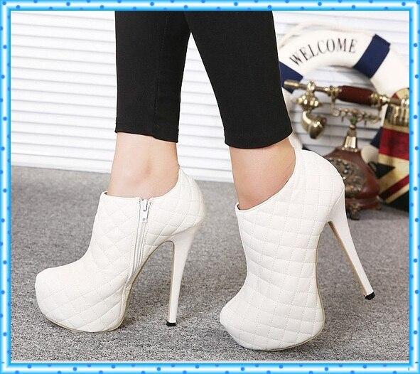e574a260bf Moda de nova mulheres botas brancas Vogue partido sapatos bomba plataforma  sapatos de salto alto Ankle