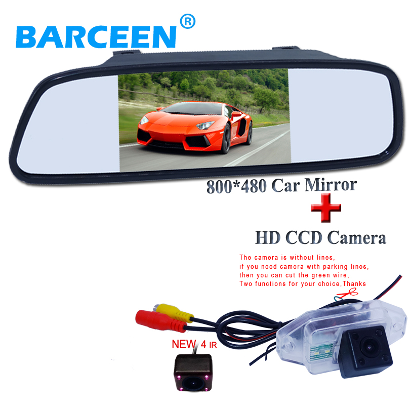 High resolution HD TFT5 Color LCD Car Rearview Mirror Monitor 800 480 with rearview camera