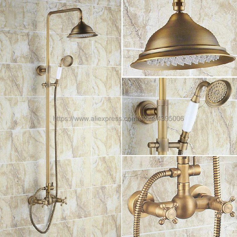 Antique Brass Bathroom Shower Faucet 8 Rainfall Shower Head Dual Handles with Hand Shower Brs110 factory direct sale best price 8 brass head shower with hand shower bathroom shower faucet antique