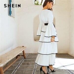 Image 3 - SHEIN Elegant White Contrast Binding Layered Ruffle Hem Belted Maxi Dress Women Autumn Ruffle Fit and Flare High Waist Dresses