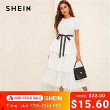 SHEIN Elegant White Contrast Tie Waist Layered Ruffle High Waist Long Dress Women Summer Solid Office Lady A Line Party Dresses