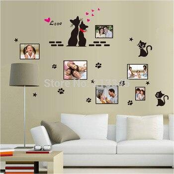 [Fundecor] dibujos animados negros amantes del gato hogar marcos de Fotos decoración pegatinas de pared habitación de matrimonio dormitorio sala de estar calcomanías 6583