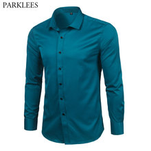 Camisas de vestir de fibra de bambú para hombre, camisas ajustadas de manga larga Lisa informales con botones abajo camisetas para hombre, camisa elástica de mantenimiento fácil Formal de hierro