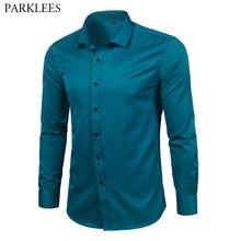 Męskie włókno bambusowe ubranie koszule Slim Fit jednolity kolor, długi rękaw przyczynowy przycisk w dół koszulki mężczyźni elastyczny Non Iron łatwy w pielęgnacji formalna koszula