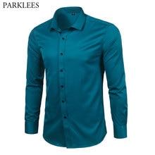 Mannen Bamboevezel Jurk Shirts Slim Fit Solid Lange Mouwen Causale Button Down Shirts Mannen Elastische Niet Ijzer Gemakkelijk care Formele Shirt
