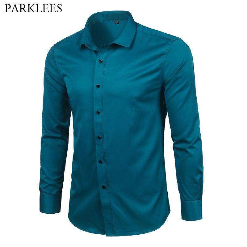 Men's Bamboo Fiber Dress Shirts Slim Fit Solid Long Sleeve Causal Button Down Shirts Men Elastic Non Iron Easy Care Formal Shirt