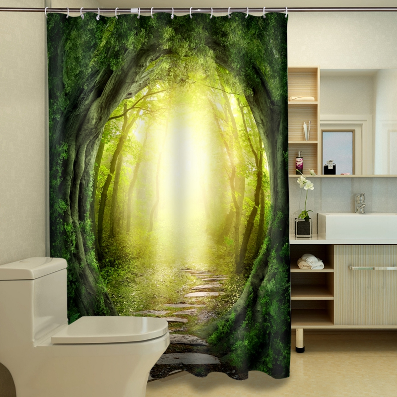180 x 180cm Classic Dream Jungle 3D Polyester Waterproof Fabric Bathroom Shower Curtain With 12pcs Curtain Hooks Rings