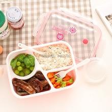 Freies Verschiffen Kinder Lunchbox Lebensmittelqualität Material Mikrowelle Heizung chaos Zinn Drei Grids Mit einem Suppenschüssel Versiegelt Lunchbox Box