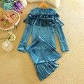 Gold Velour Suit Female Winter Autumn 2017 Fashion Design Long Sleeve Elegant Ladies Ruffles Top and Skirt Women Two Piece Set
