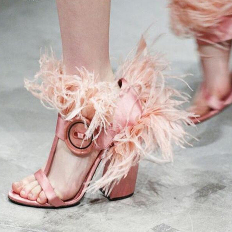 Pink Ladies Sandalias Gladiator Feather 10cm Square High Heels Sandals Shoes Woman Red White Summer Shoes