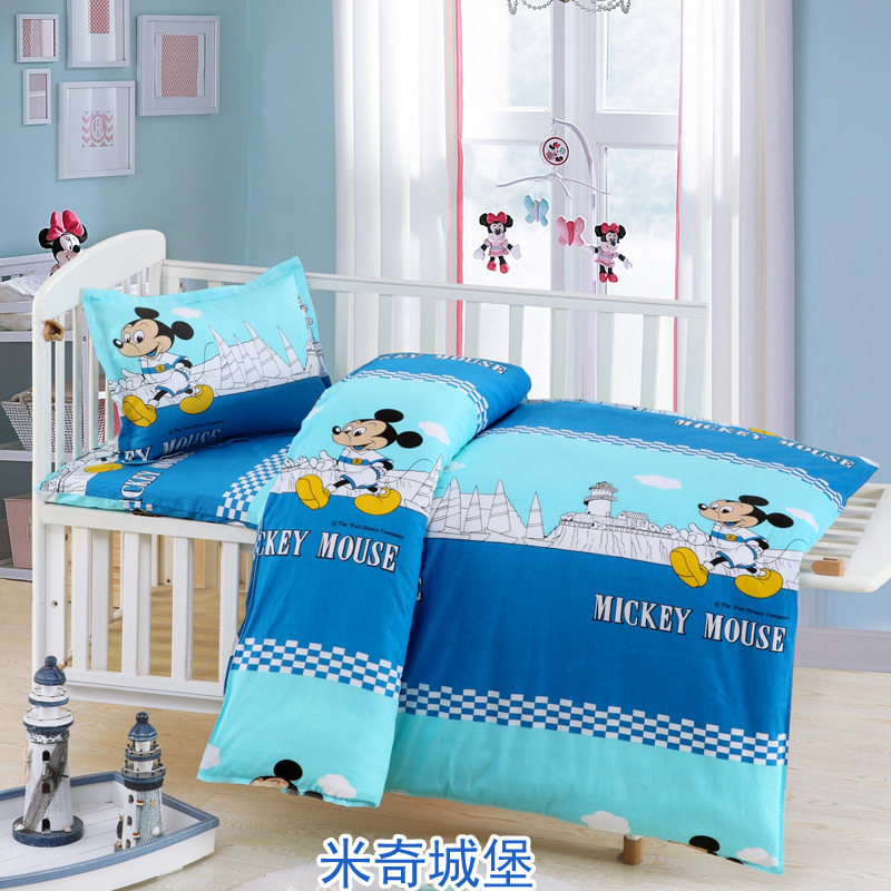 3 PCS /Set Students Childrens Cartoon Cot Bed Bedding Set Baby Boy Girl Bedding Sets for Kids Duvet Cover+Bed Sheet+Pillowcase cute cotton green gray baby bedding sets newborn bed for girl boy detachable cot sheet duvet cover pillowcase without filling