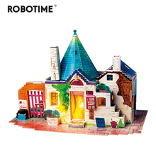 Robotime New DIY Spring in Italy Doll House with Led Light Children Adult Miniature Wooden Model Building Dollhouse Toy SJ302