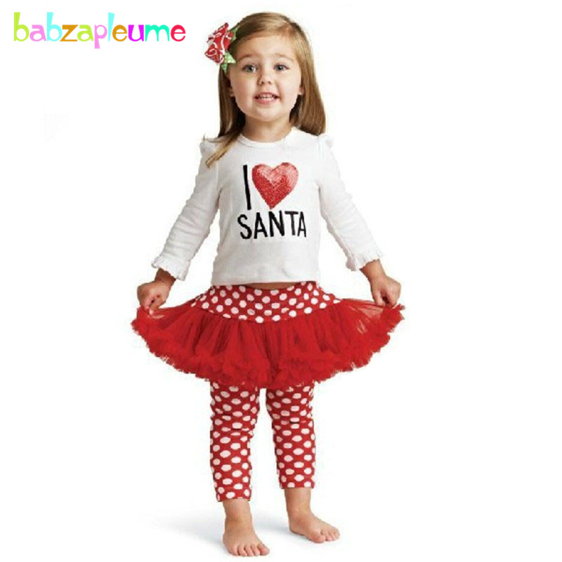 0-5Year/Autumn Winter Child Girls Clothes Christmas Santa Gift Baby Costume Kids Girls Outfits Children Clothing tops dress A056