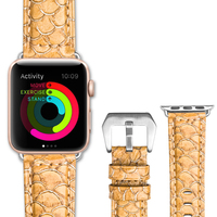 QIALINO Fashion Genuine Leather Fish Scales Watch Strap Band For Apple For IWatch Series 3 Series