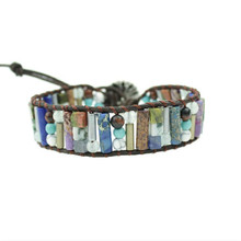 Vintage Tube Shape Natural Stone Single Leather Wrap Bracelet Semi Precious Stone Beaded Cuff Bracelet Women Boho Bracelet цена