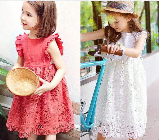 2017 summer teenage girls lace dress, toddler baby ruffled flower princess dress, teen wedding party dresses kids clothes