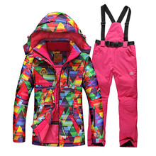 2016 womens ski suit set snowboard snow skiwear geometric jacket + pants Specail ski clotheshigh quality free shipping