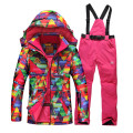 2016 womens ski suit set snowboard snow skiwear geometric jacket + pants Specail ski clotheshigh quality free shipping