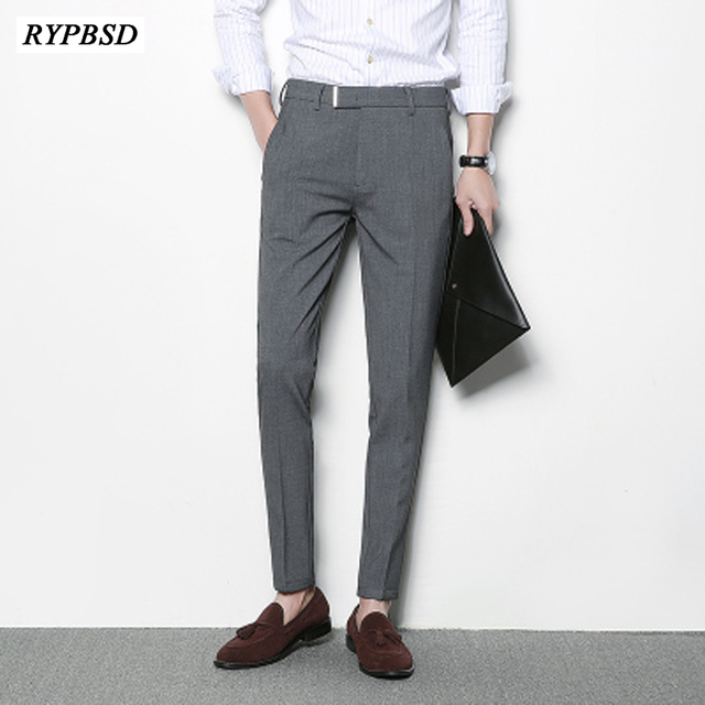 2018 New Korean Pants Men Full Length Skinny Suit Pants