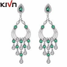 KIVN Womens Fashion Jewelry Long Dangle CZ Cubic Zirconia Chandelier Bridal Wedding Earrings Mothers Birthday Christmas