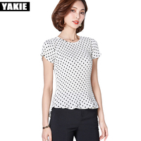 Pleated Blouse Shirt Women Chiffon Dot Printed Slim Blouses Shirts Tops Girls OL Office Work Wear