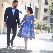 Королевский синий элегантные коктейльные платья трапециевидной формы с длинным рукавом с аппликацией Кружева Элегантные короткие платья для выпускного вечера