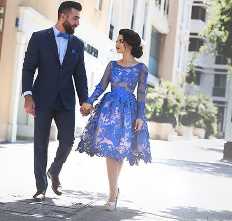 Royal Blue 2019 Elegant Cocktail Dresses A-line Long Sleeves Appliques Lace Elegant Short Homecoming Dresses