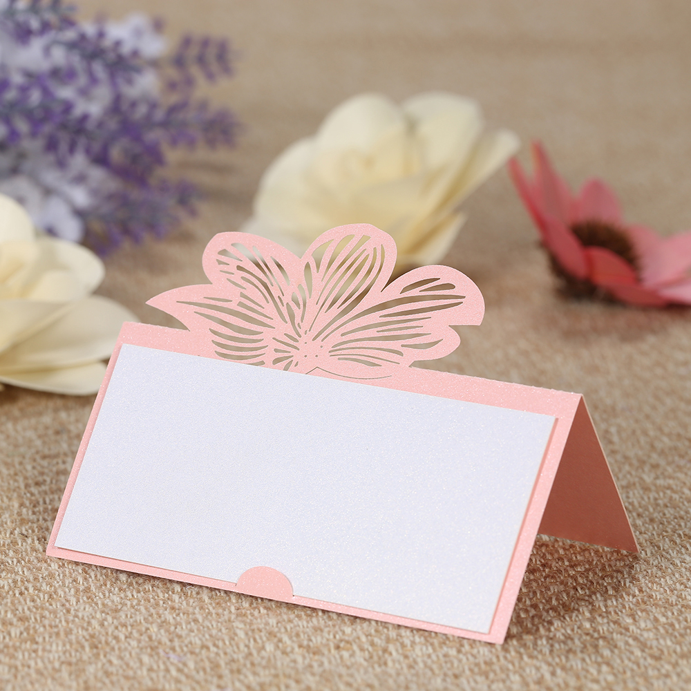 30pcs Laser Cut Table Card Holders with Blank Sheets Set Pearl Paper ...