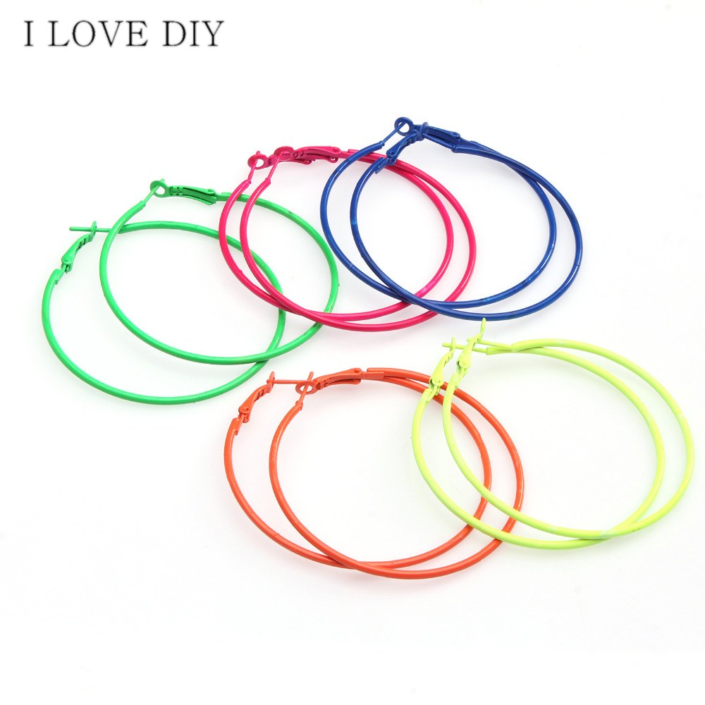 5Pairs/lot Fashion Candy Colored Metal Hoop Charm Basketball Wives Earrings For DIY Earrings Making