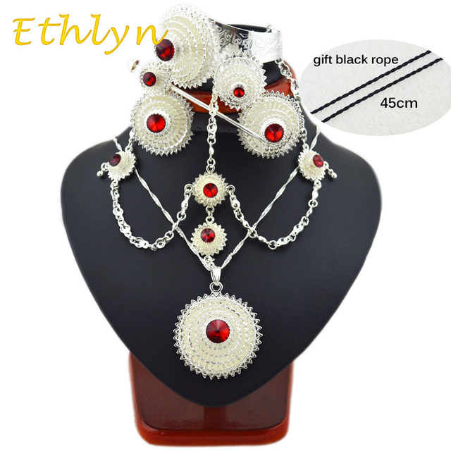 Ethlyn Bright Plated silver plated  Ethiopian/Eritrean stone jewelry sets with hair accessories for African bridal wedding party