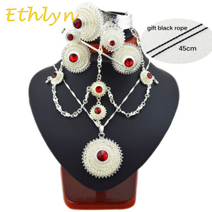 Ethlyn Bright Plated silver plated Ethiopian/Eritrean stone jewelry sets with hair accessories for African bridal wedding S137A