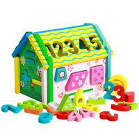 Cute Colorful Wooden Cartoon DIY Assembling Number Geometry house toys for baby learning
