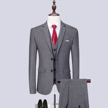 (Blazer+Pants+Vest) Classic Men Suits Slim Fit Gray Wedding Groom Men Suit Tuxedo Gentlemen Costume Mariage Homme M-6XL цена
