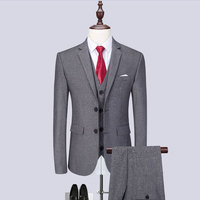 (Blazer+Pants+Vest) Classic Men Suits Slim Fit Gray Wedding Groom Men Suit Tuxedo Gentlemen Costume Mariage Homme M 6XL