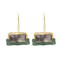 2019 Luxury Brand Designer ZA Vintage Resin Geometric Earrings For Women Statement Palace Boho Jewelry