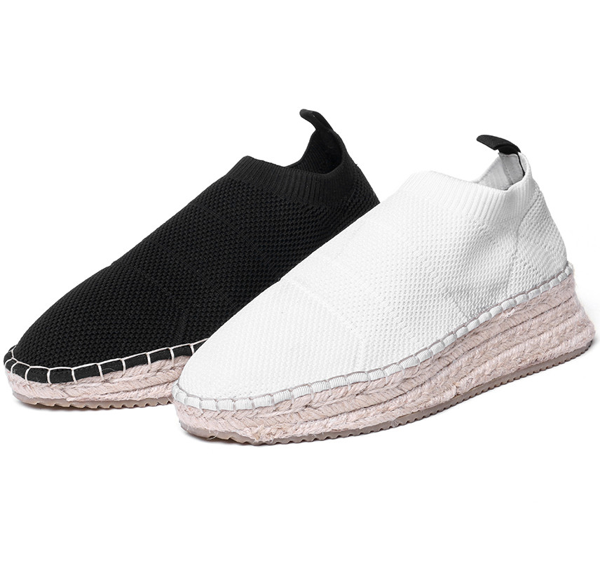 Plat Étudiants Blanc On 2018 Femmes Mocassins 41 Mode Casual Black Tricoter forme Chaussures De Slip Printemps white Rond Plate Furtado Bout Arden À Automne wAqIRW6