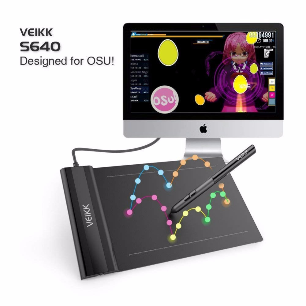 Digital Drawing Tablets OSU VEIKK S640 Graphic Drawing Tablets 8192 Levels Pen Tablet ON SALE for Artists and OSU! player image