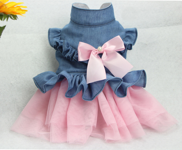 1pcs pet dog cat lovely lace tutu princess dress doggy fashion denim pink bowknot party dress puppy dresses dogs costume XS-XXL