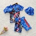 Nuevo Niño Del traje de baño Del Muchacho Troncos de baño 2016 gorro de baño + elástico boyleg + O-cuello de Manga Corta Top 2 unidades de Baño Trajes de baño