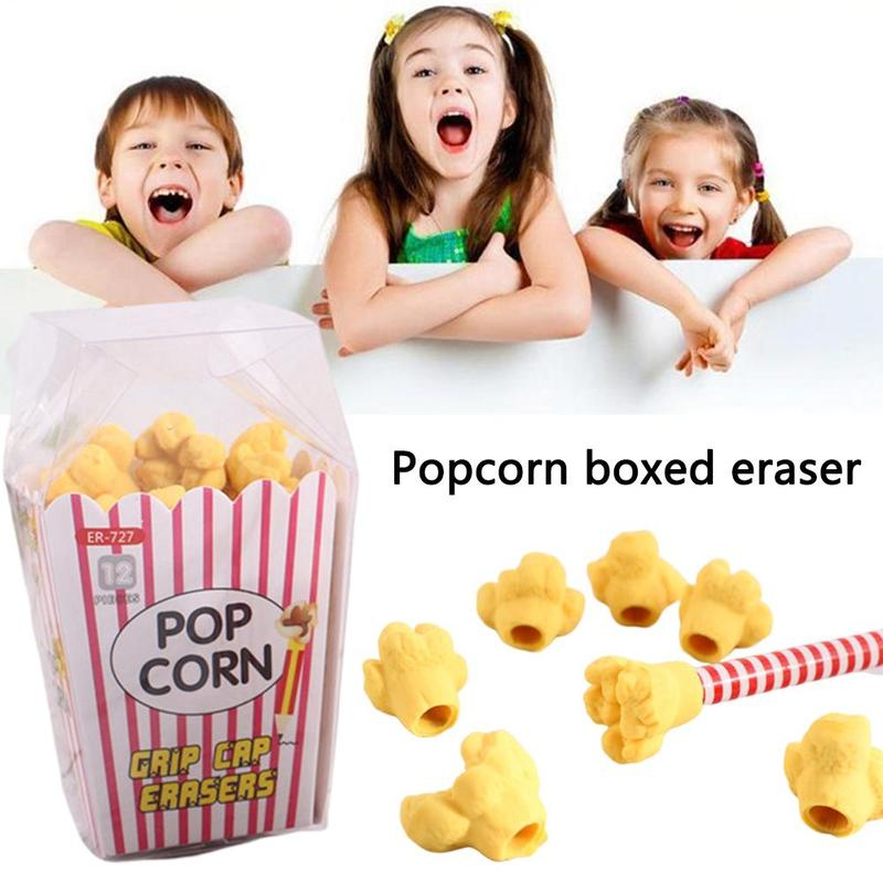 1pack Cute Creative Cartoon Popcorn Boxed Eraser Can Be Placed On A Pencil Kawaii School Supplies Stationery Kids Gift Girl Toy