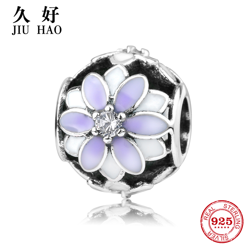 New 925 Sterling Silver charms Beads Purple Flowers and zirconia Fit Original Pandora Charm Bracelet Jewelry making 2018