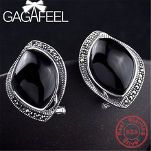 GAGAFEE 100% Real 925 Sterling Silver Stud Earrings Black Red Stone Vintage Jewelry for Women Female Wholesale