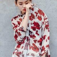 2017 تصميم جديد أزياء المرأة القمصان النساء الطباعة الرجعية قميص ، قمصان الصيف 2131