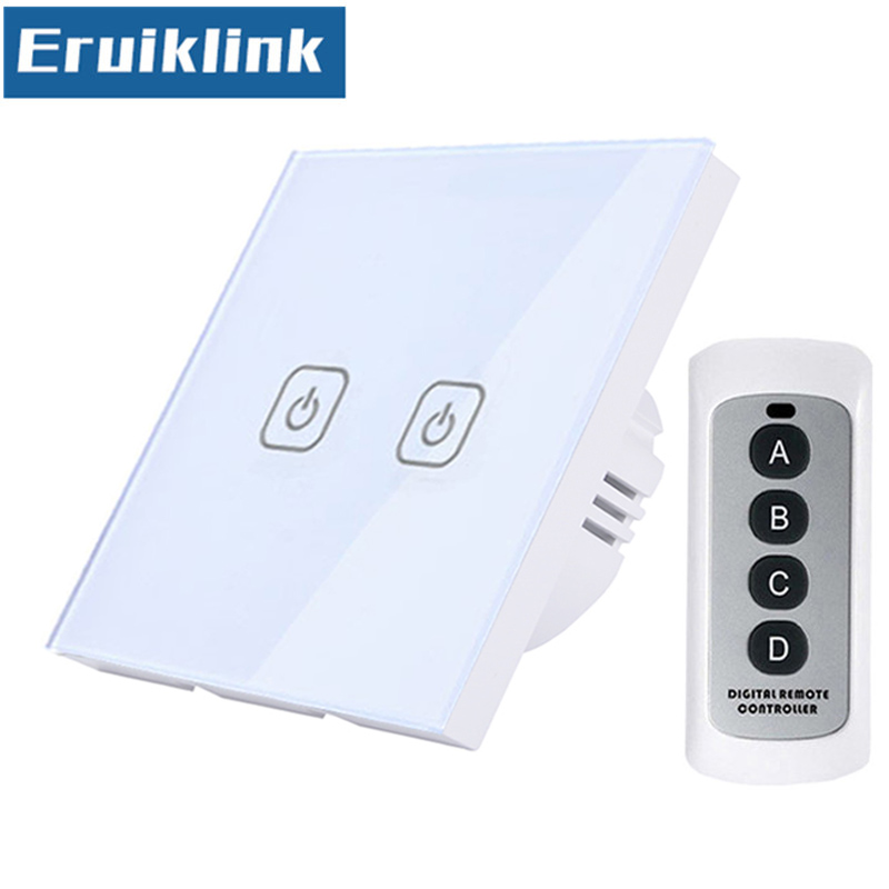 EU/UK Standard Touch Switch,White Glass Panel 1/2/3 Gang 1 Way RF433 Wireless Remote Control Wall Light Switches+LED IndicatorEU/UK Standard Touch Switch,White Glass Panel 1/2/3 Gang 1 Way RF433 Wireless Remote Control Wall Light Switches+LED Indicator