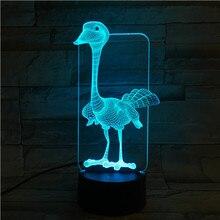 Animal ostrich 3D Lamp Touch Sensor 7 Color Changing Room Decorative Lamp Child Kids Baby Kit Nightlight ostrich Led Night Light halloween bat witch acrylic 7 color changing 3d led nightlight bedroom lamp living room lights decoration touch 3d led lamp