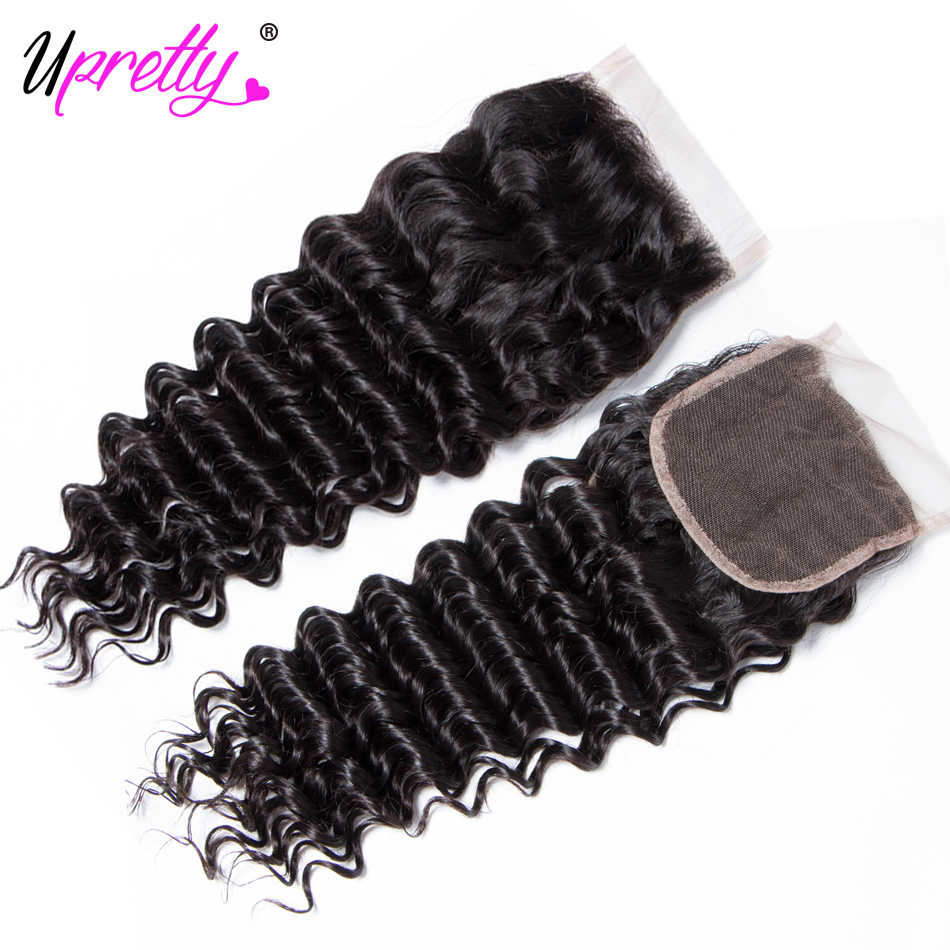 Upretty волосы бразильские волосы плетение пучок s с закрытием 3 пучка с закрытием кружева Remy натуральные волосы глубокая волна пучок s с закрытием